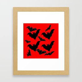HALLOWEEN BATS ON BLOOD RED DESIGN Framed Art Print