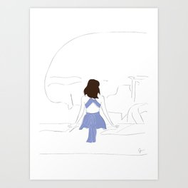 Santorini Wanderlust Fashion Girl Art Print