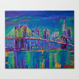 New York City Night Lights - palette knife painting urban Brooklyn bridge skyline Canvas Print