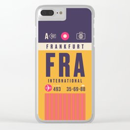 Retro Airline Luggage Tag - FRA Frankfurt Clear iPhone Case