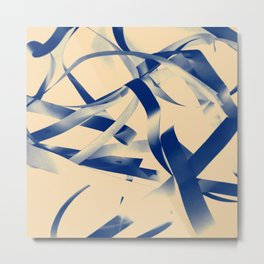 Blue paper stripes Metal Print