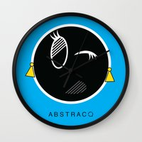 tina crespo Wall Clocks featuring TINA by A B S T R A C Q