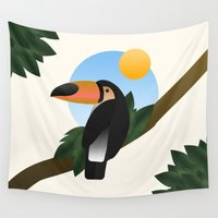 toucan Wall Tapestries featuring Jungle Toucan by Moremo