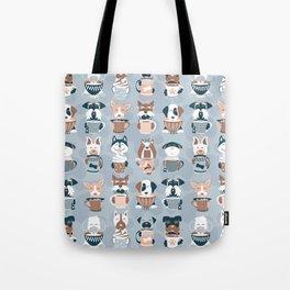 Doggie Coffee and Tea Time I // blue grey Tote Bag