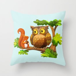 The Owl and The Squirrel Throw Pillow