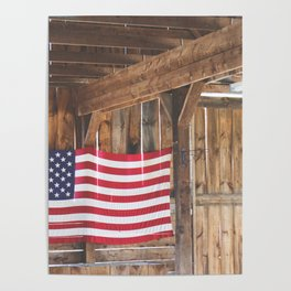 Rural American Flag in a Traditional Rustic Barn Poster
