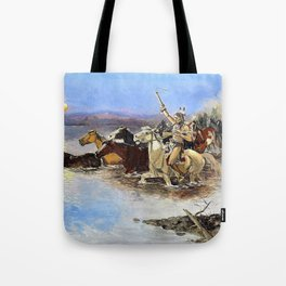 Crossing the River - Charles Marion Russell Tote Bag