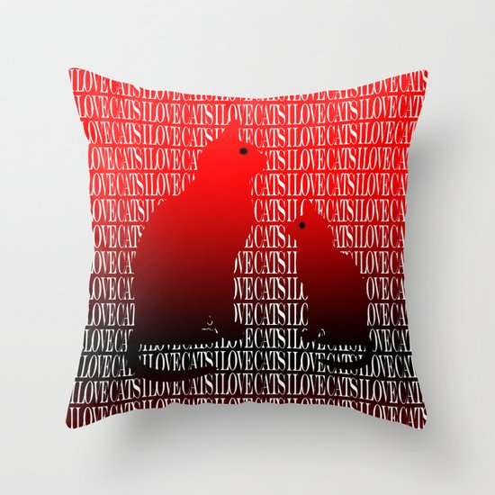 Love Cats Red Throw Pillow