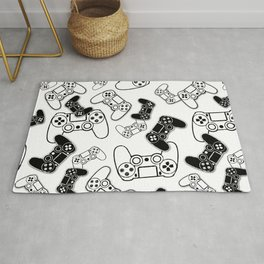 Video Games Black on White Rug