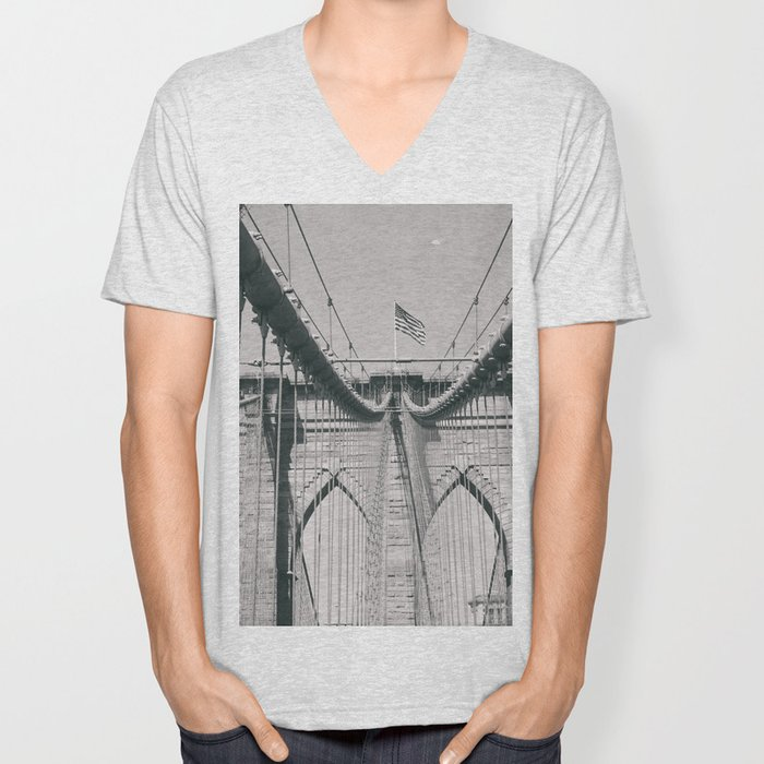 Brooklyn bridge, architecture, vintage photography, new york city, NYC, Manhattan view Unisex V-Neck