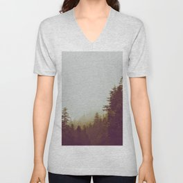 Olive Green Sepia Misty Pine Forest Landscape Photography Parallax Trees Unisex V-Neck