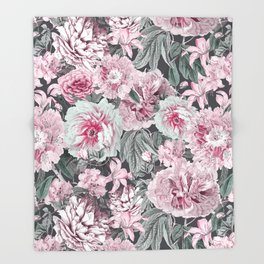 Nostalgic Flower Pattern Teal And Pink Throw Blanket