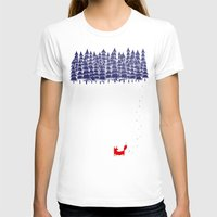 white marble T-shirts featuring Alone in the forest by Robert Farkas