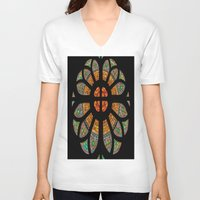 stained glass V-neck T-shirts featuring stained glass by Joshua Arlington