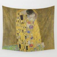 klimt Wall Tapestries featuring The Kiss - Gustav Klimt by Elegant Chaos Gallery