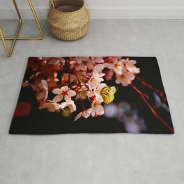 Yellow Butterfly Kissing Pink Cherry Blossom Rug
