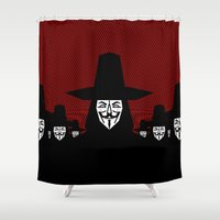 vendetta Shower Curtains featuring Million Mask March by chobopop