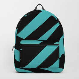 Black blue abstract stripes Backpack