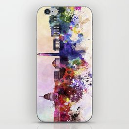 Washington DC skyline in watercolor background  iPhone Skin