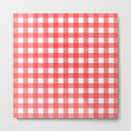 Plaid (Red & White Pattern) Metal Print