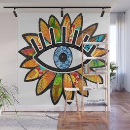 Greek Evil Eye Green Flower Wall Mural