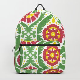 Hand painted red green yellow watercolor motif Backpack