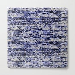 scribbled texture horizontal in deep blue Metal Print