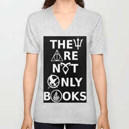 They Are Not Only Books (inverted) Unisex V-Neck