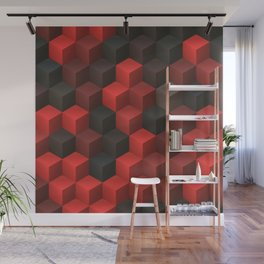 Artistic Cubes 07 red black Wall Mural