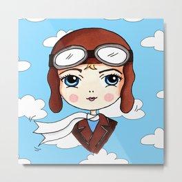Amelia Earhart Cute and Famous Metal Print