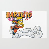 simpson Area & Throw Rugs featuring Bartuto: Bart Simpson meets Naruto Uzumaki by logoloco