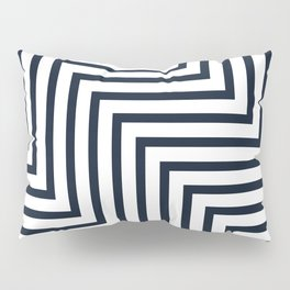 Geometric Art, Colorful Stripes, Navy and White, Abstract Art Pillow Sham