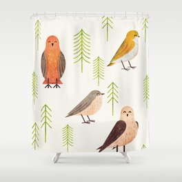 Birds & Forest Shower Curtain