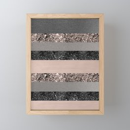 Blush Glitter Glam Stripes #3 #shiny #decor #art #society6 Framed Mini Art Print