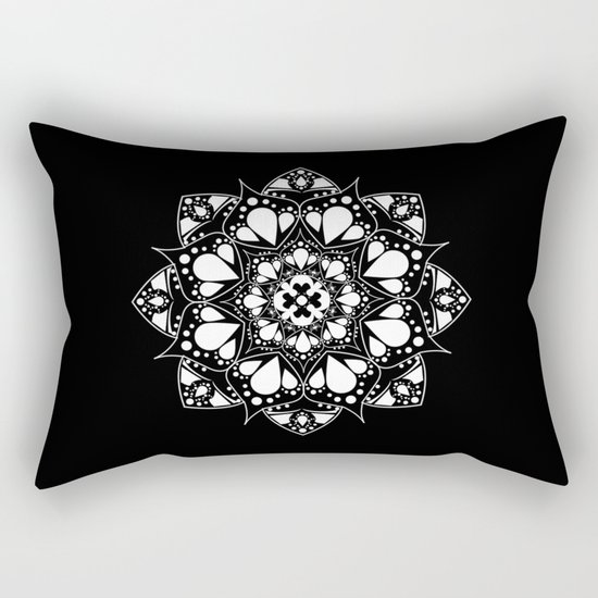 Mandala Black and White Magic Rectangular Pillow