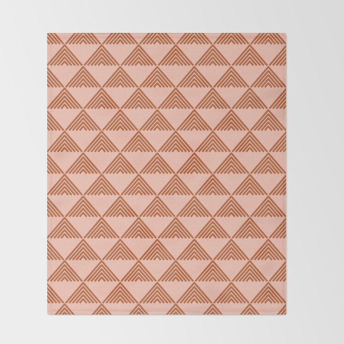 Triangular Lines in Terracotta and Blush Throw Blanket