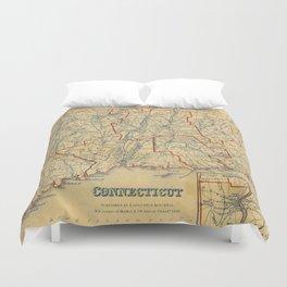 Vintage Map of Connecticut (1846) Duvet Cover