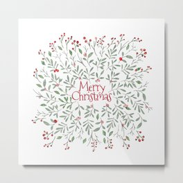 Watercolor Mistletoe Metal Print