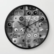 Eyes Eyes Eyes BW Wall Clock