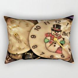 Vintage TimePieces Displaying a SnowMan Face Rectangular Pillow
