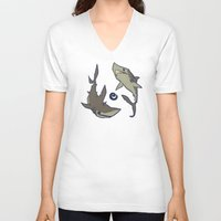 sharks V-neck T-shirts featuring Sharks by Anya McNaughton