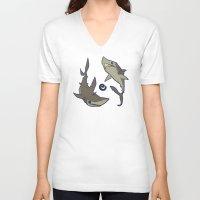sharks V-neck T-shirts featuring Sharks by Anya McNaughton
