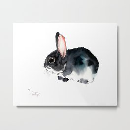Bunny, Cute gray bunny Nursery Art children room watercolor bunny art Metal Print