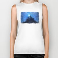 castle in the sky Biker Tanks featuring Mystical castle by Pirmin Nohr