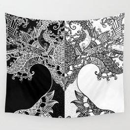 Unity of Halves - Life Tree - Rebirth - Black White Wall Tapestry