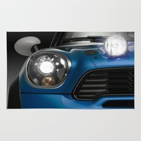 mini cooper Area & Throw Rugs featuring Mini Blue by Airpower Art
