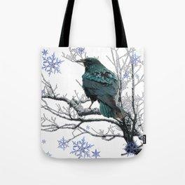 CROW/RAVEN IN WINTER TREE & SNOWFLAKES Tote Bag