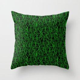 Elio's Shirt Faces Bright Green Neon on Black Throw Pillow