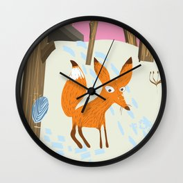 For an adventure Canada Vintage fox travel poster Wall Clock