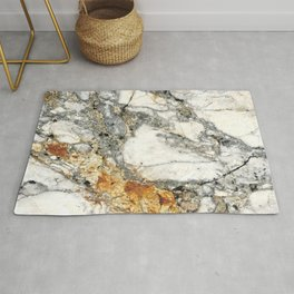 White and Rust Marble Slab Rug